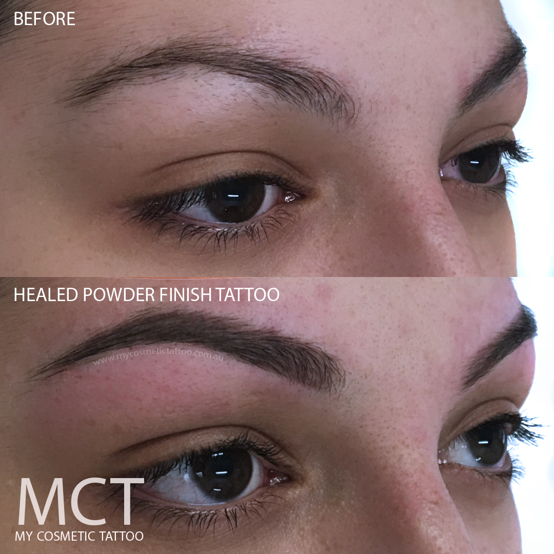 Before & Healed Powder Finish Brow Tattoo - My Cosmetic Tattoo